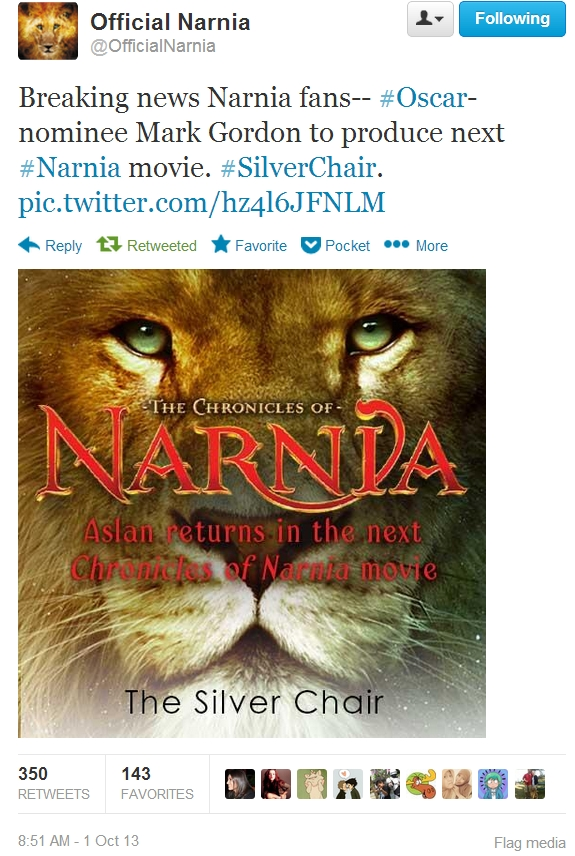 The silver chair announced as next narnia movie c s lewis minute